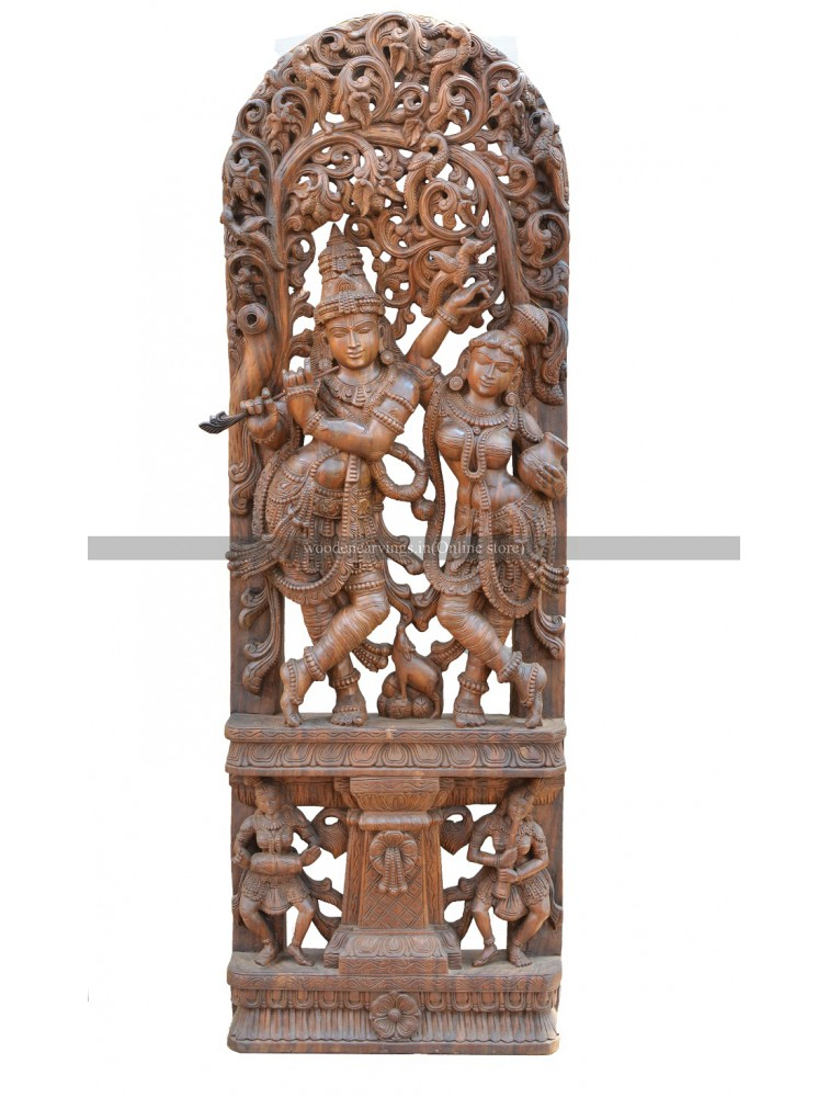 Large Size Wooden Sculpture of Krishna With Radha