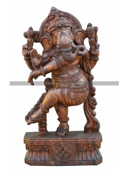 Buy An Wooden Thandava Ganesh Statue