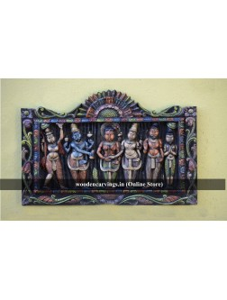 Meenakshi Thiru Kalyanam Wooden Wall mounting sculpture