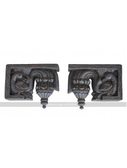 Dark Coloured Wooden Bodhil Wall Brackets With Hamsa Design
