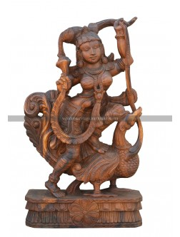 Wooden Statue Of Apsaras(Kesini)seated On the Hamsa(Annam) Bird