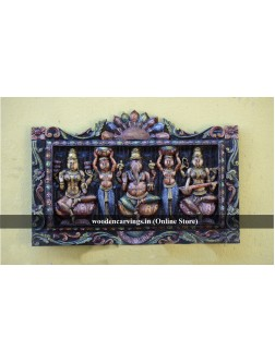 Lakshmi,Ganesha,and Saraswathi with two Sevaga wooden wall panel