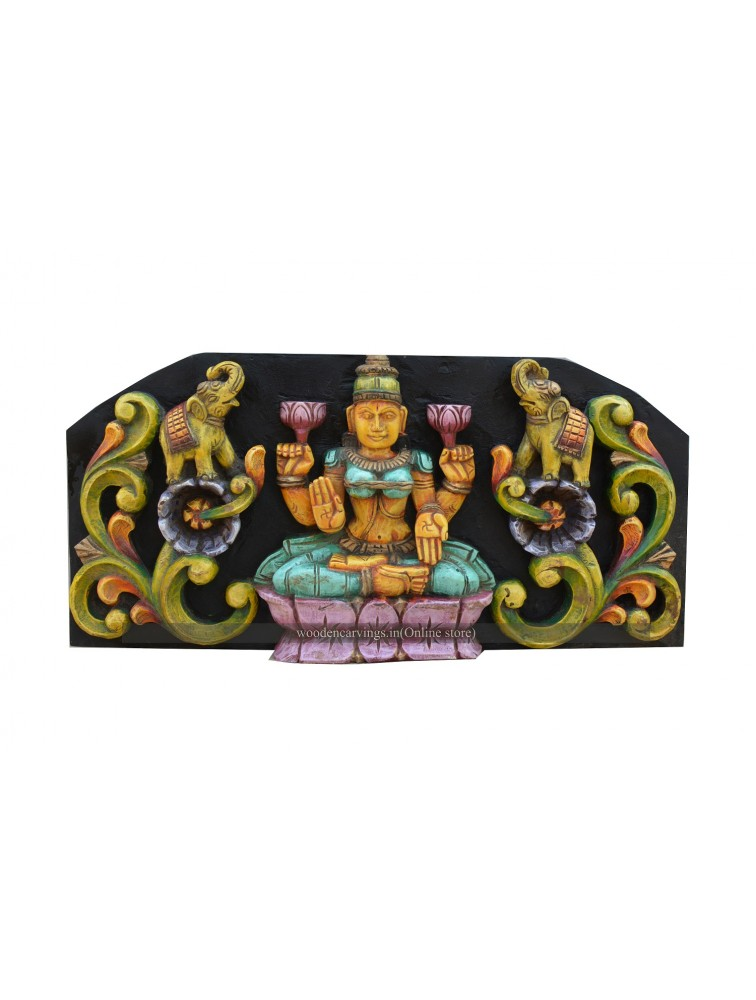 Deep Multicolored GajaLakshmi Wall Mount Panel