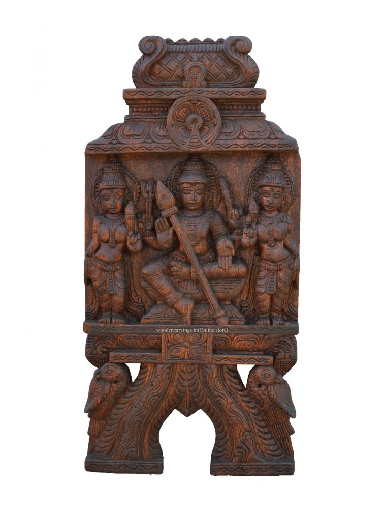 Wooden Wall Mount kaavadi of Lord Kartikeya