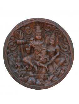 Wooden Roundshaped Wall Mount Of Lord Shiva's Family