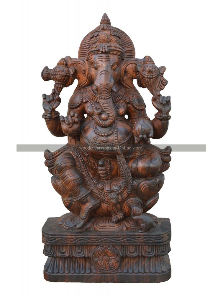 Buy An Wooden Ganesh Murti Seated On the Lotus