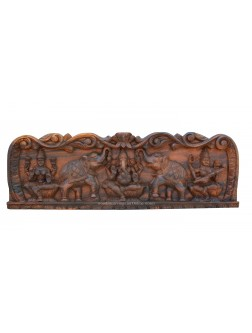 Carved Wooden Wall Panel Of Lord Ganesha
