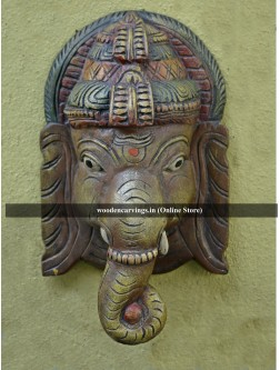 Hindu God Ganesha Wooden Mask
