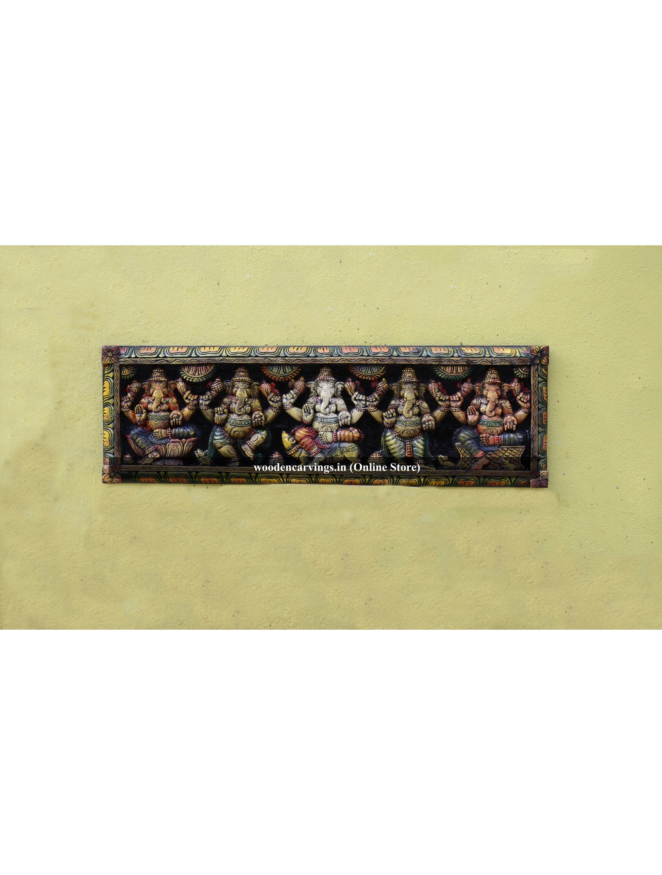 Pancha (Five) Ganesh Multicoloured Wooden wall mounts