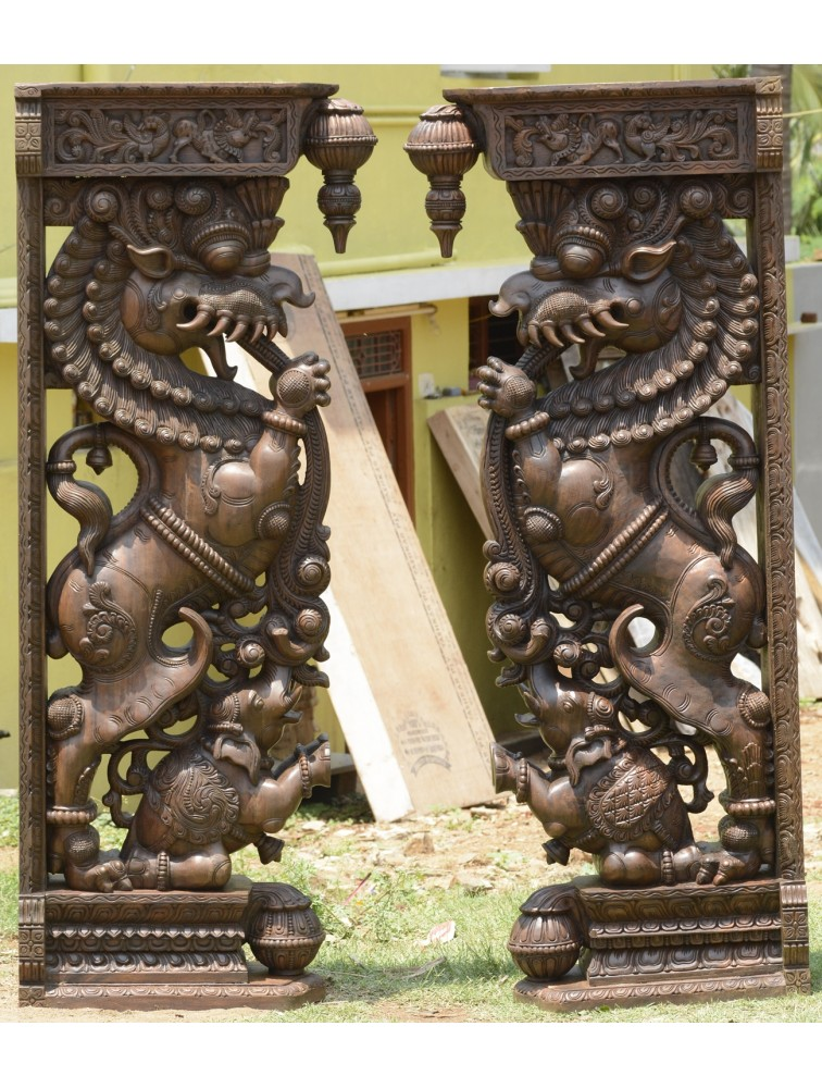 The Mythical Yazhi  Wall Pillar (Pair)